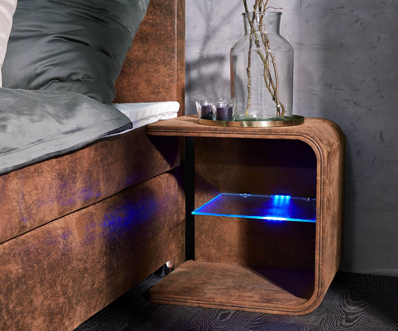 DELIFE Nachttisch Oscar Big 50cm hoch Braun mit LED und Glasablage, Nachttische