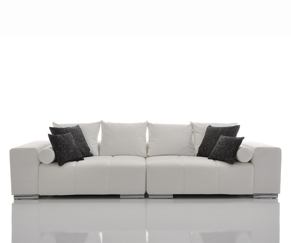 bigsofa marbeya 285x115 cm weiss inklusive kissen schwarz weiss by delife ebay. Black Bedroom Furniture Sets. Home Design Ideas