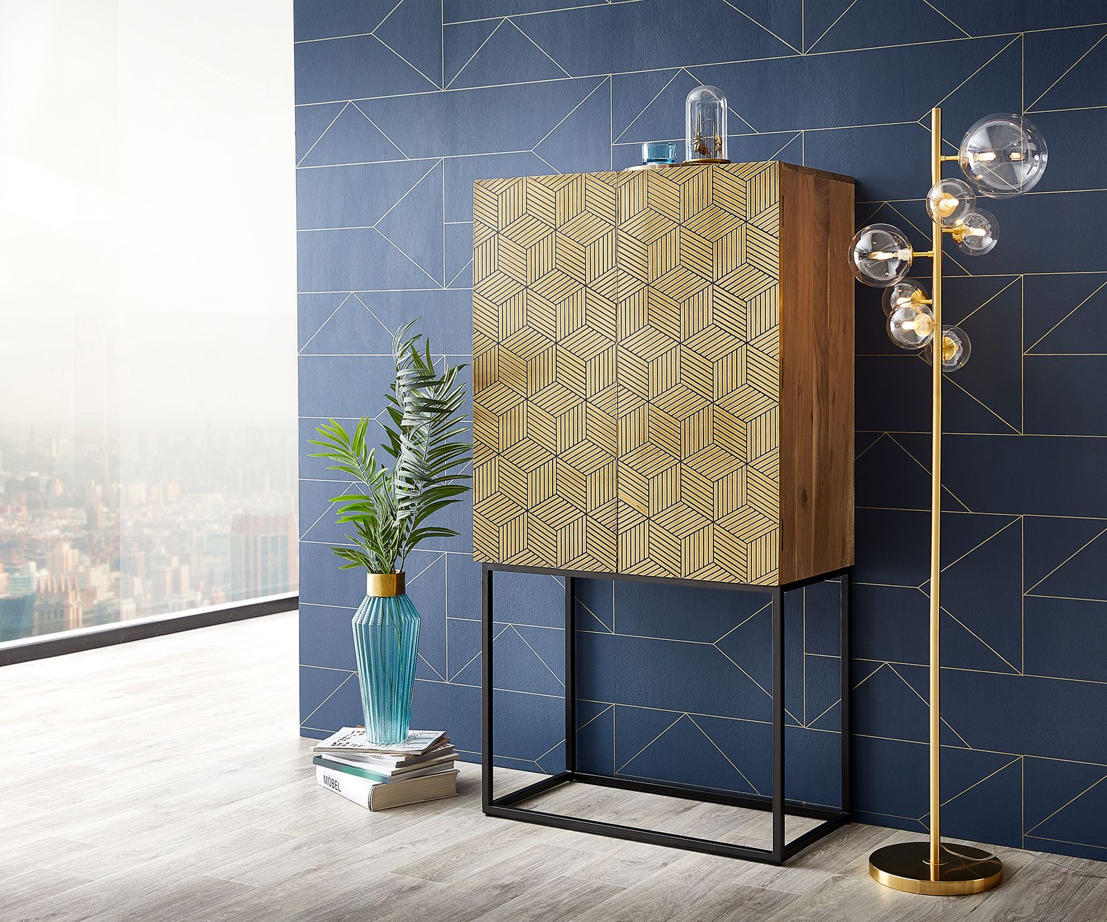 Highboard Oro 151x80x40 Akazie Natur Cubes Messing