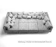 Sofa Hocker Clovis  Hellgrau Modul B98 x T83 Strukturstoff Sitzhocker [19656]