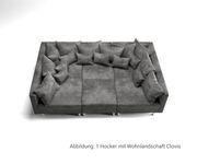 Sofa Hocker Clovis Anthrazit Modul  B98 x T83 Microvelours Sitzhocker  [19658]
