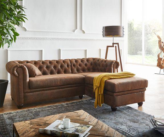 Bank Chesterfield 209x160 cm bruin gestoffeerd ottomaans rechts 1