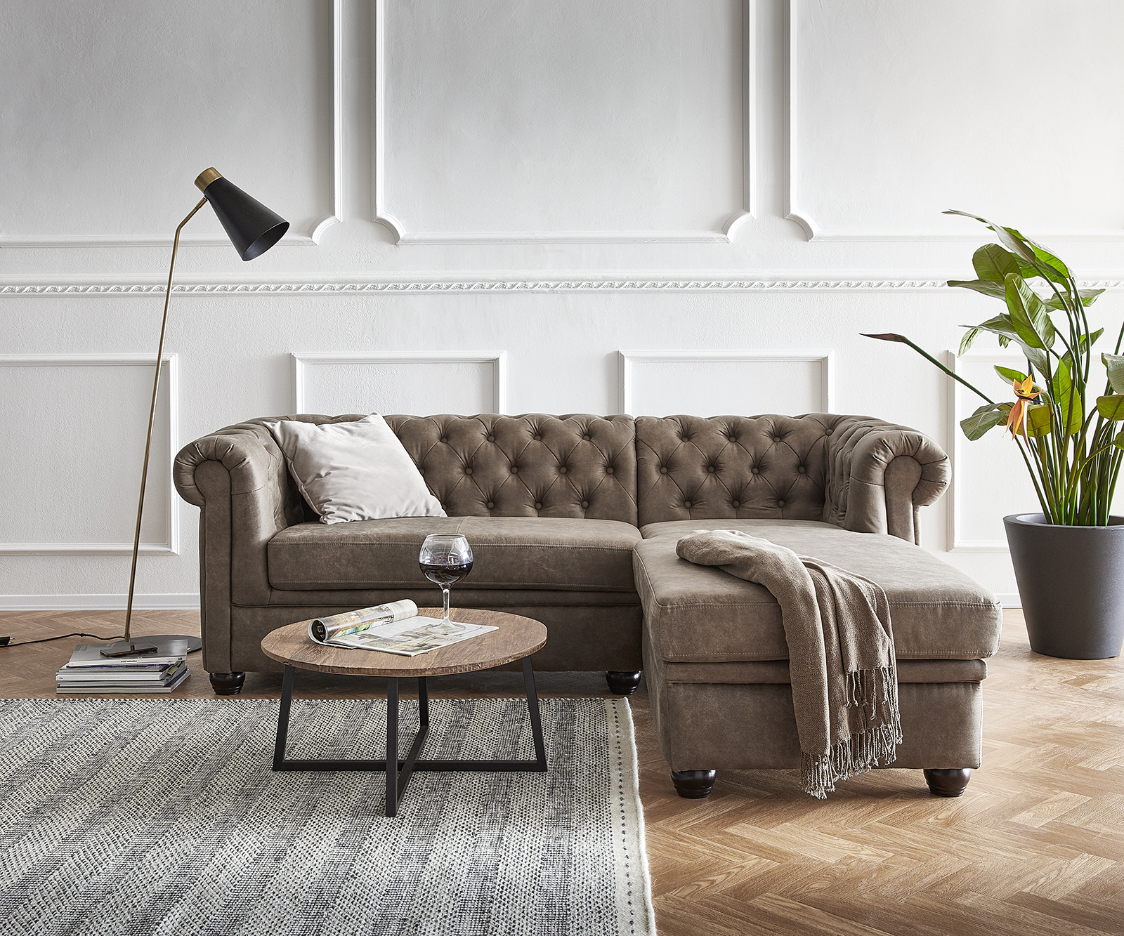 Sofa Chesterfield 200x88 cm Taupe Abgesteppt Ottomane Rechts