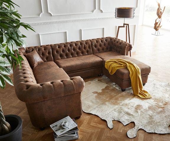 Hoekbank Chesterfield 260x200 cm bruin gestikt ottomaan rechts 2