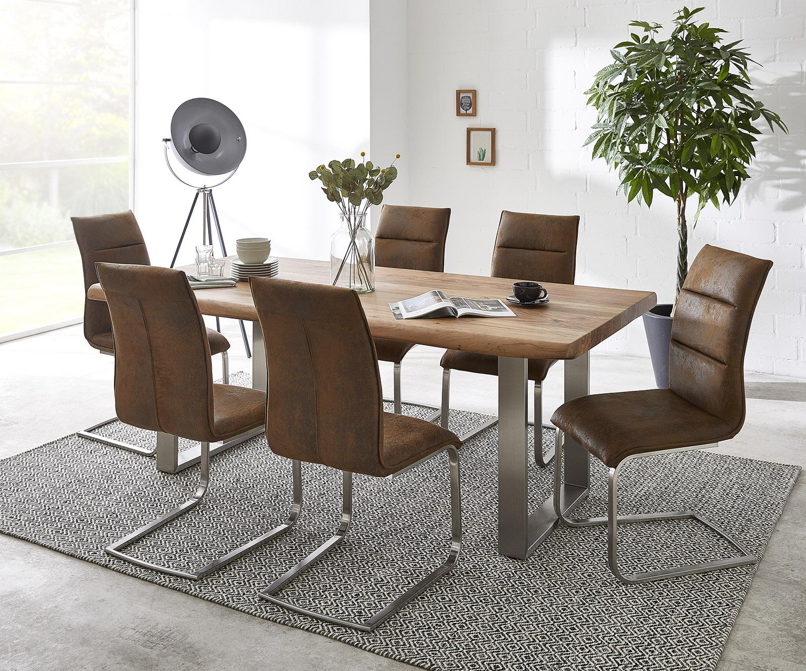 Esstischgruppe Live-Edge Natur 200x100 Natur + 6 Stühle