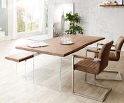 Esszimmergruppe Live-Edge Akazie Braun 200x100 cm mit 2 Stühlen + 1 Bank  [19685]
