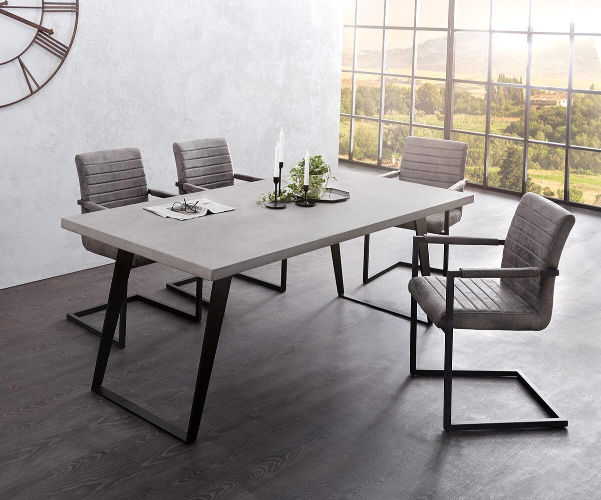 Esstischgruppe Cement-Edge 200x100 Cm Grau Mit 6 Stühlen