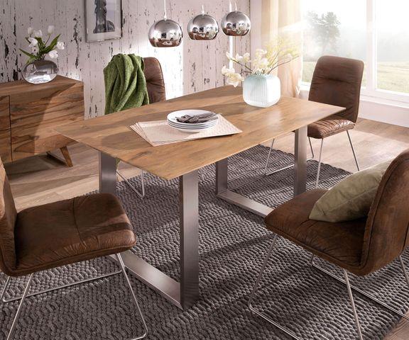 Eettafel Swiss-Edge 140x90 acacia natuur frame smal 1