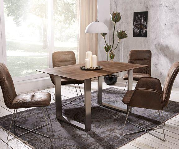 Eettafel Swiss-Edge 140x90 acacia bruin top 2,5cm frame smal 1