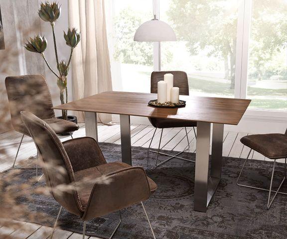 Eettafel Swiss-Edge 140x90 acacia bruin top 2,5cm frame smal 2