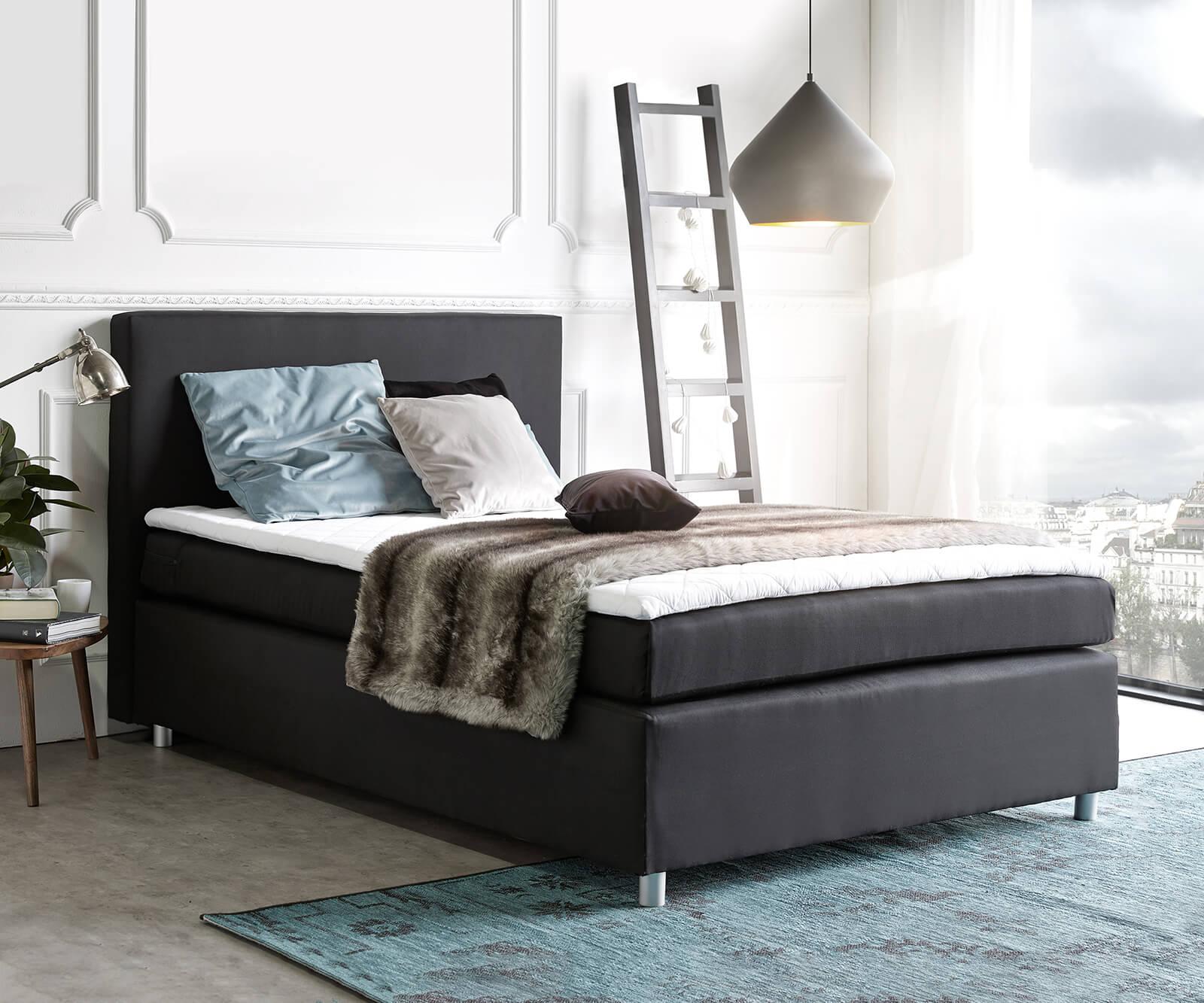 bett paradizo schwarz 140x200 cm matratze und topper. Black Bedroom Furniture Sets. Home Design Ideas