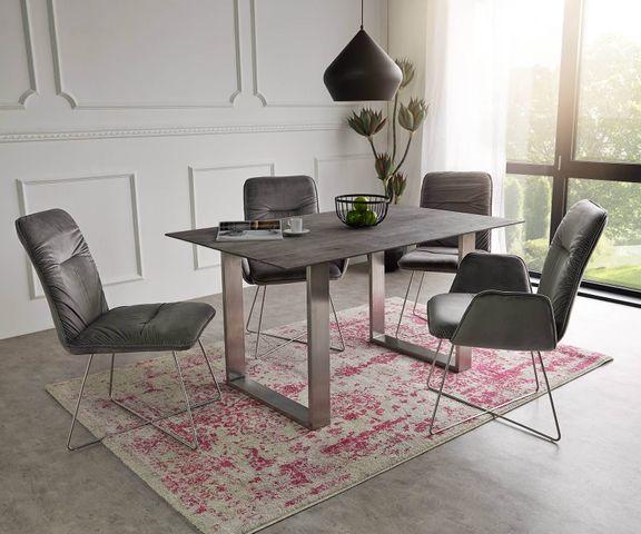 Eettafel Swiss-Edge 140x90 acacia platina top 2,5cm smal frame 1