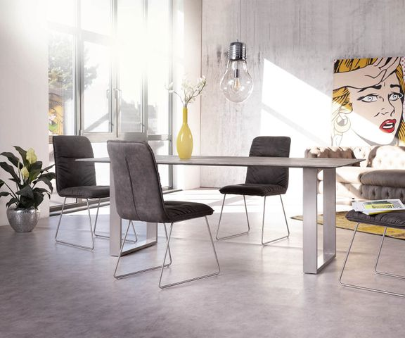 Eettafel Swiss-Edge 200x100 acacia platina smal frame 2