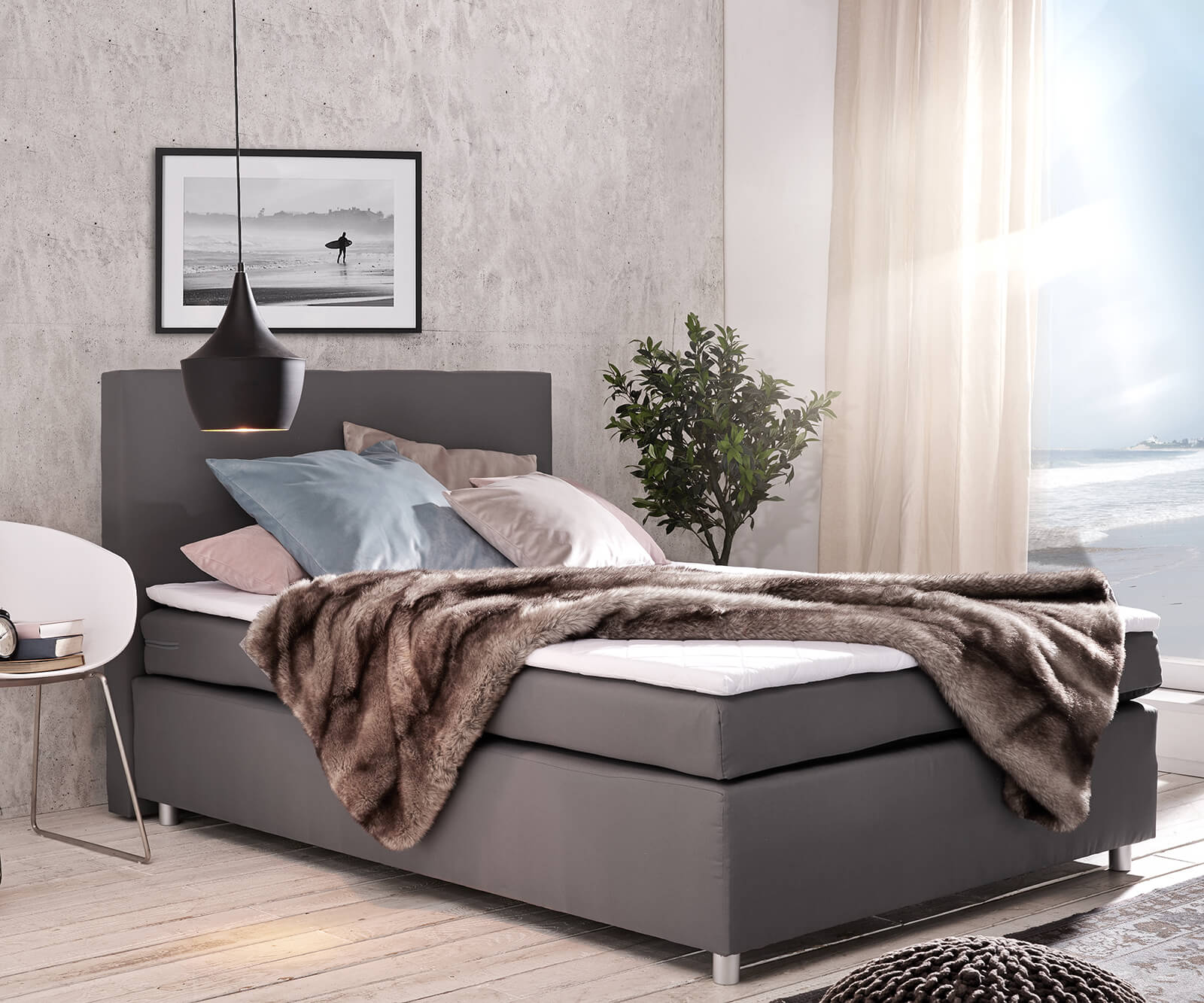 bett paradizo grau 140x200 cm matratze und topper. Black Bedroom Furniture Sets. Home Design Ideas