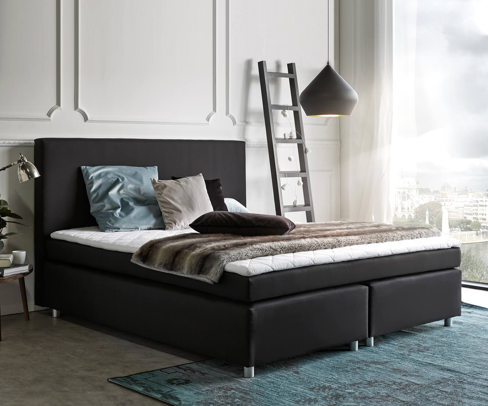 boxspringbett paradizo 180x200 cm schwarz topper und. Black Bedroom Furniture Sets. Home Design Ideas