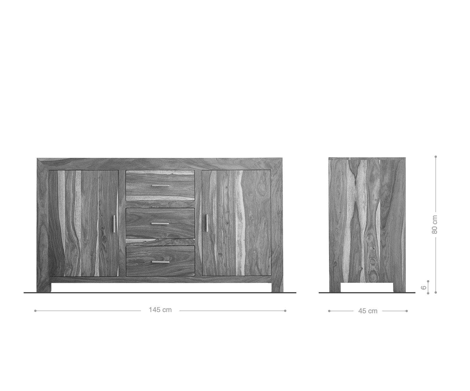 DELIFE Sideboard Indra 145 cm Sheesham Natur 3 Schübe 2 Türen, Sideboards