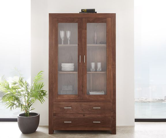 Vitrinekast Indra acacia bruin 100 cm glas 2 deuren 2 laden 2