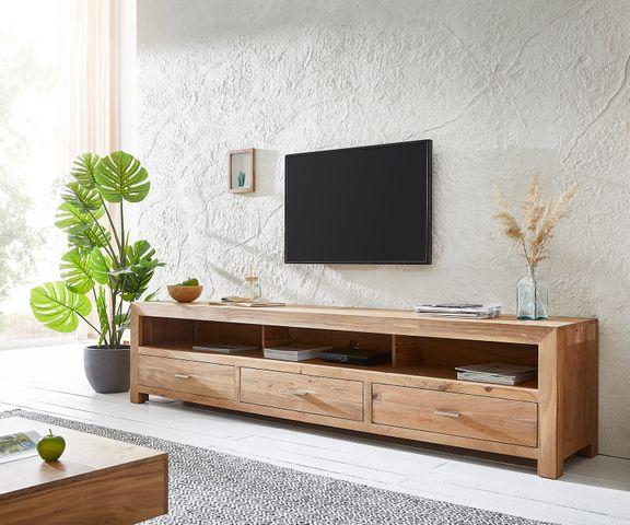 TV-tafel Indra 240x45 cm Acacia natuur 3 lades 3 vakken  1