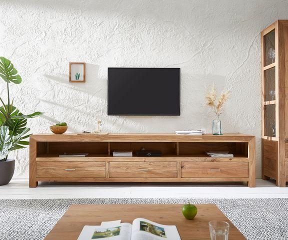 TV-tafel Indra 240x45 cm Acacia natuur 3 lades 3 vakken  2