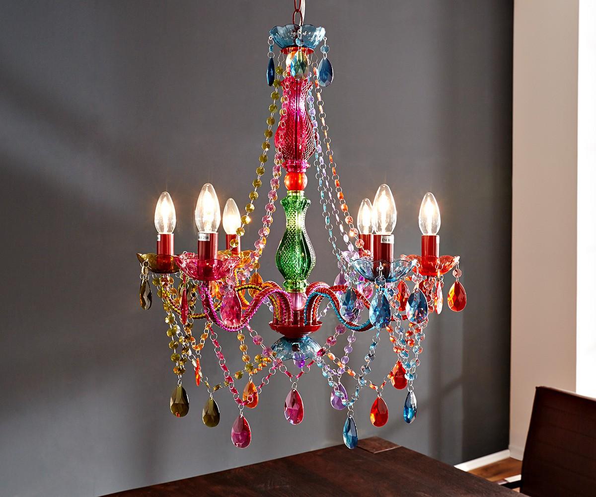 DELIFE Hängeleuchte Gypsy 55 cm Starlight-Multi-Rainbow Bunt, Hängeleuchten