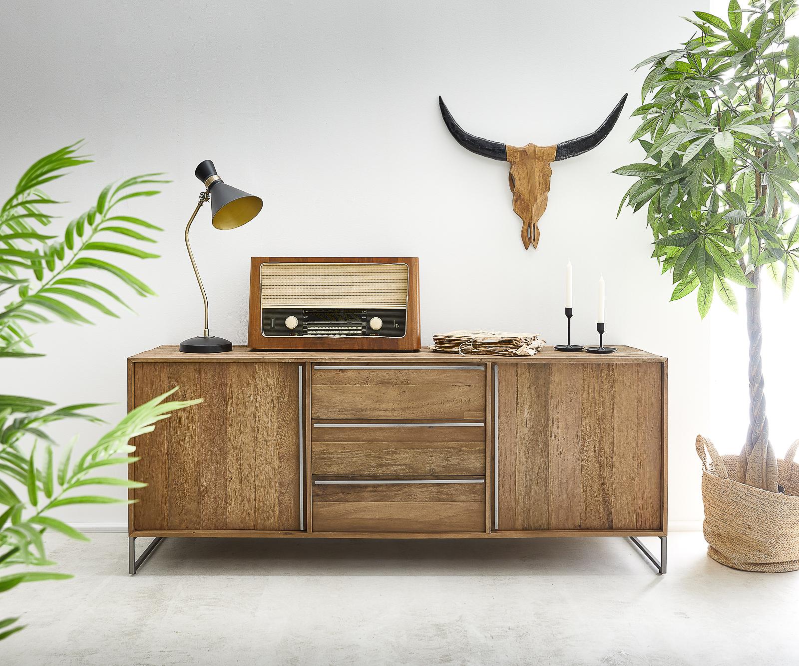 Sideboard Odon 175x45cm Natur Exotic Wood 2 Türen und 3 Schübe