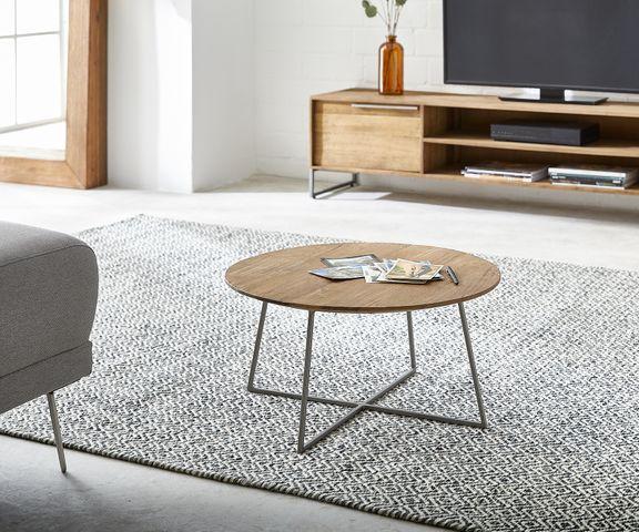 Salontafel Leandra 60x60 cm Exotisch wood natuur metalen frame  1