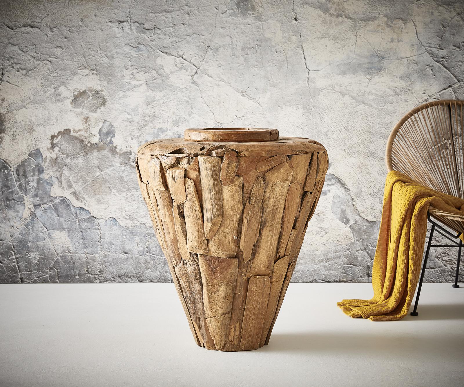 Vase Karita 80x70 cm Teak Natur Massivholz
