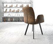 Armlehnstuhl Vinja-Flex 4-Fuß oval Schwarz Vintage Braun [20493]