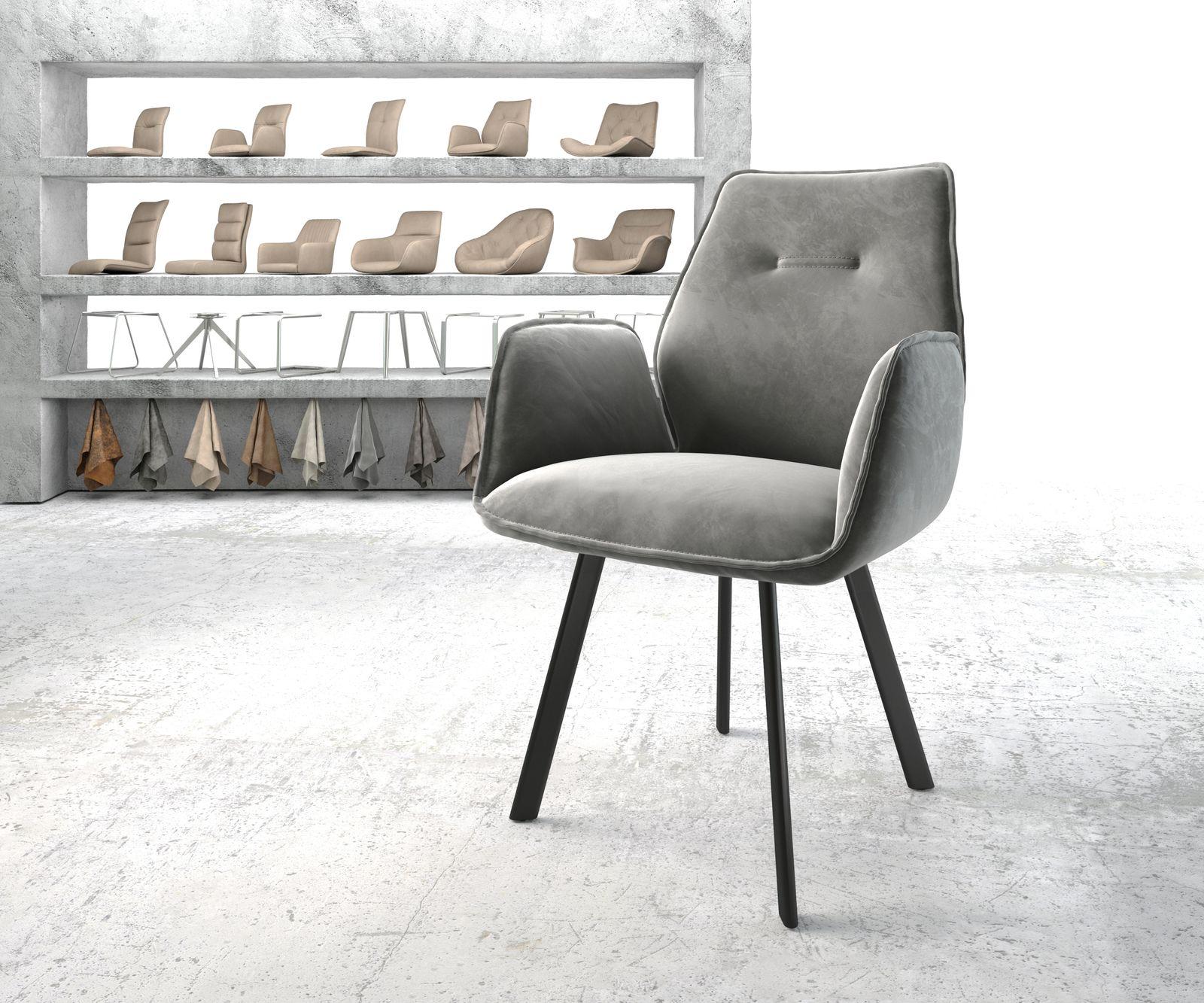 DELIFE Armlehnstuhl Zoa-Flex Grau Samt 4-Fuß oval Schwarz, Esszimmerstühle
