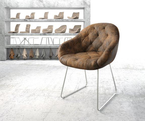 Armleunstoel Gaio-Flex bruin vintage slipframe roestvrij staal 1