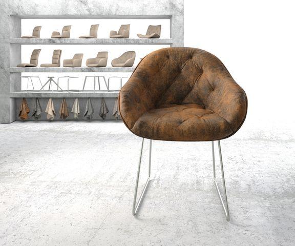 Armleunstoel Gaio-Flex bruin vintage slipframe roestvrij staal 2