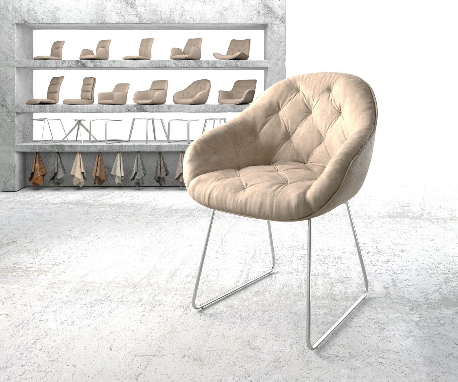delife-armlehnstuhl-gaio-flex-beige-vintage-kufengestell-edelstahl-esszimmerstuhle