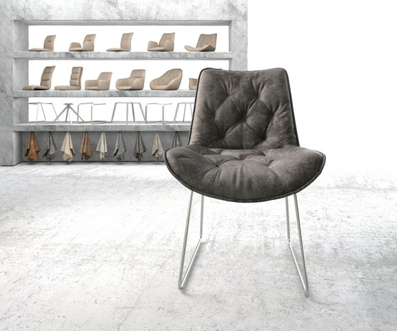 Eetkamerstoel Taimi-Flex grijs vintage slipframe roestvrij staal 2