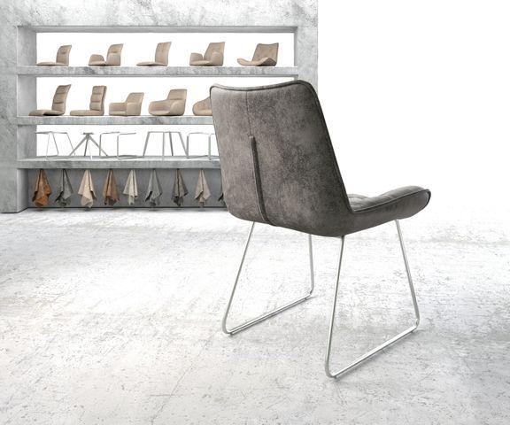 Eetkamerstoel Taimi-Flex grijs vintage slipframe roestvrij staal 3