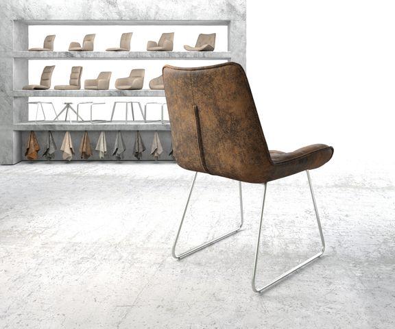 Eetkamerstoel Taimi-Flex bruin vintage slipframe roestvrij staal 3