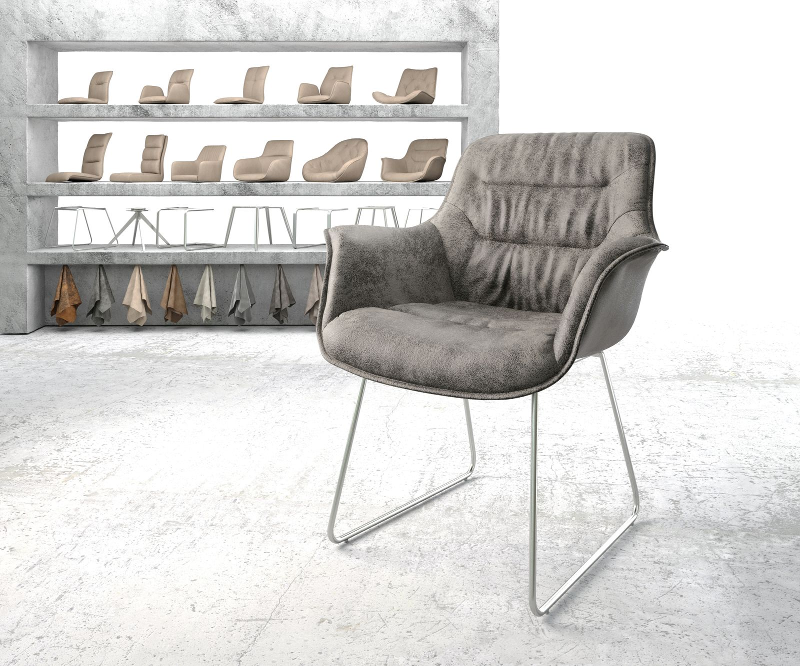 delife-armlehnstuhl-kaira-flex-grau-vintage-kufengestell-edelstahl-esszimmerstuhle