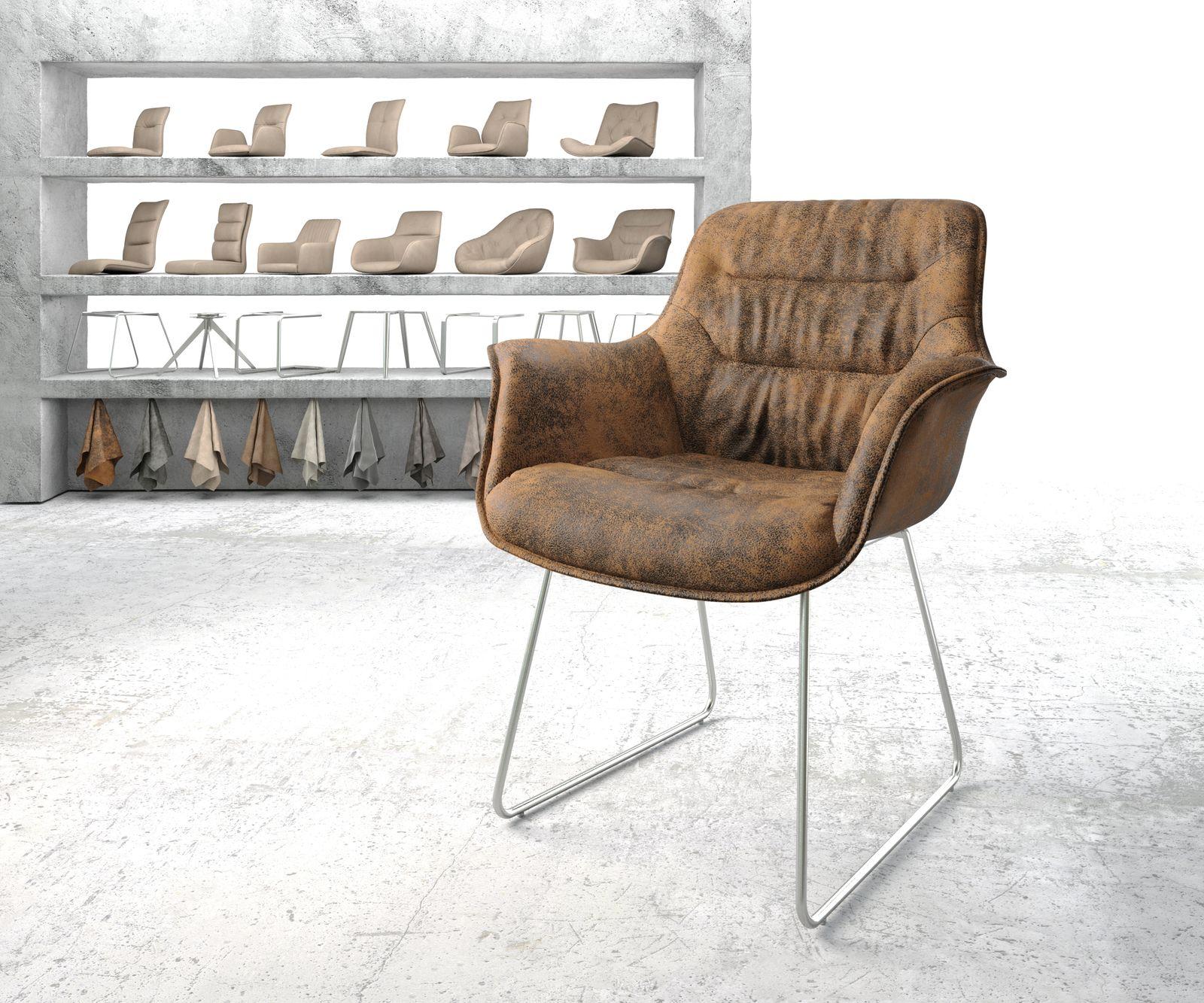 delife-armlehnstuhl-kaira-flex-braun-vintage-kufengestell-edelstahl-esszimmerstuhle