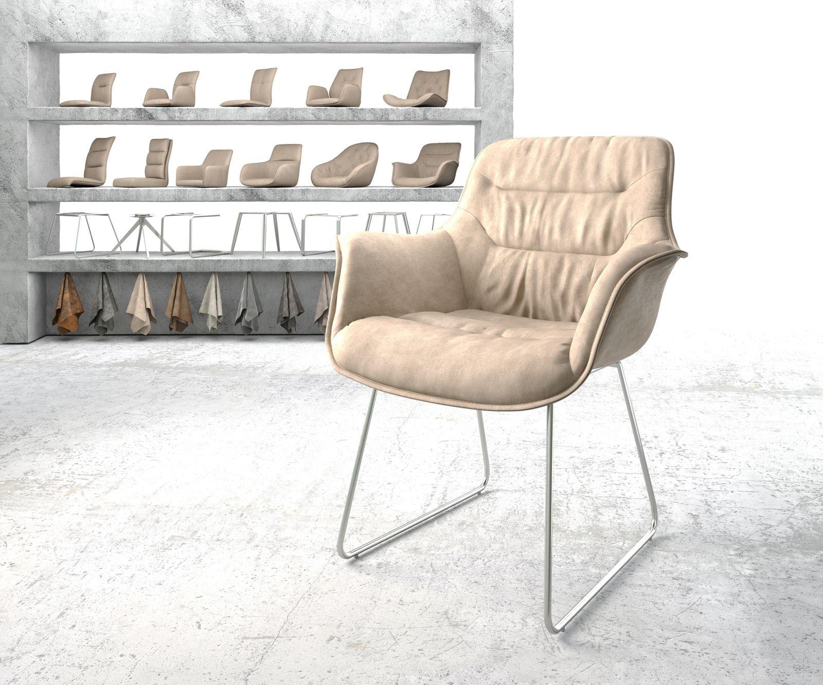 delife-armlehnstuhl-kaira-flex-beige-vintage-kufengestell-edelstahl-esszimmerstuhle