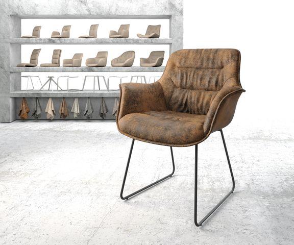 Armleunstoel Kaira-Flex bruin vintage slipframe zwart 1