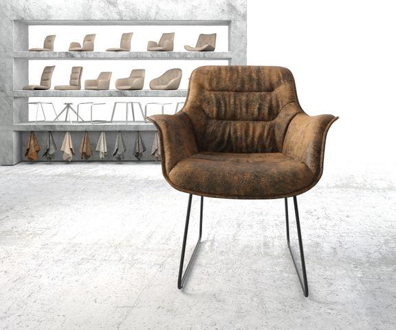 Armleunstoel Kaira-Flex bruin vintage slipframe zwart 2