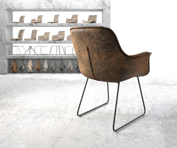 Armleunstoel Kaira-Flex bruin vintage slipframe zwart 3