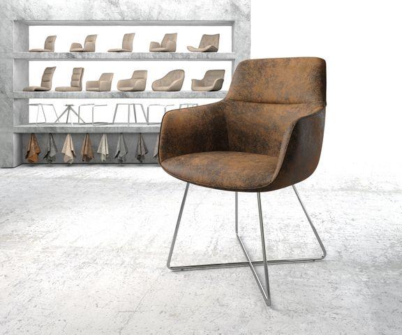 Eetkamerstoel Pejo-Flex bruin vintage X-frame roestvrij staal 1