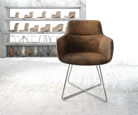 Eetkamerstoel Pejo-Flex bruin vintage X-frame roestvrij staal 2