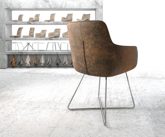 Eetkamerstoel Pejo-Flex bruin vintage X-frame roestvrij staal 3