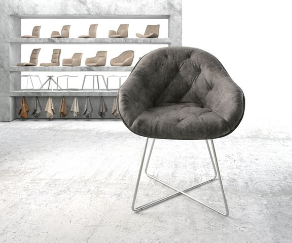 Armleunstoel Gaio-Flex grijs vintage X-frame roestvrij staal 2