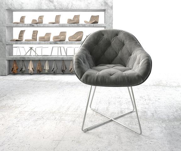 Armleunstoel Gaio-Flex grijs fluweel X-frame roestvrij staal 2