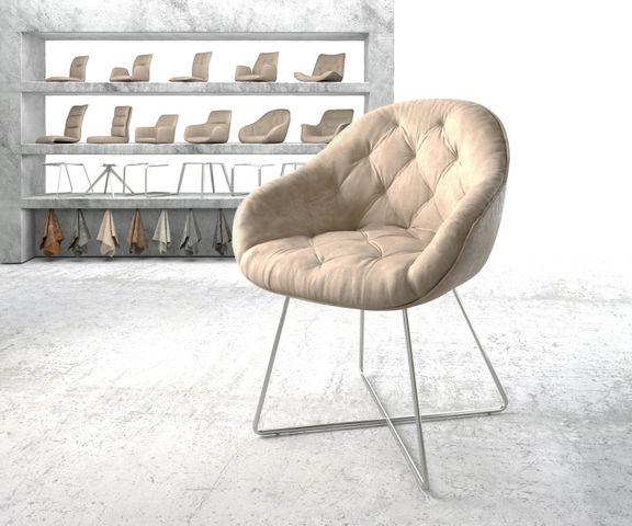 Armleunstoel Gaio-Flex beige vintage X-frame roestvrij staal 1