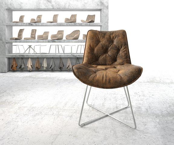Eetkamerstoel Taimi-Flex bruin vintage X-frame roestvrij staal 2