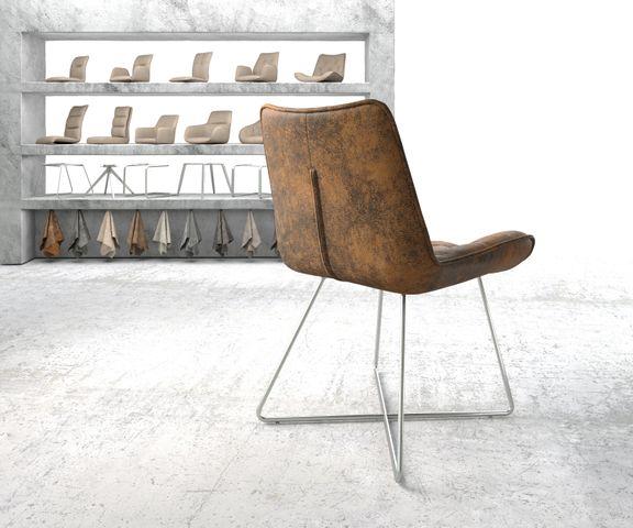 Eetkamerstoel Taimi-Flex bruin vintage X-frame roestvrij staal 3