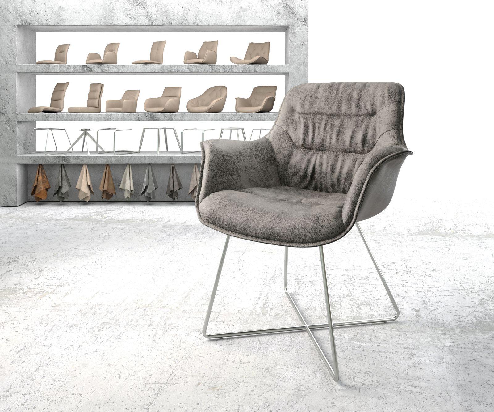 delife-armlehnstuhl-kaira-flex-grau-vintage-x-gestell-edelstahl-esszimmerstuhle